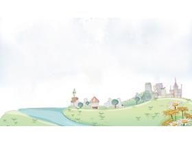 卡通城镇建筑PPT背景图片
