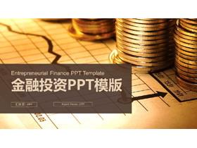 数据图表与硬币背景的金融投资PPT模板
