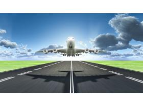 飞机起飞PPT背景图片
