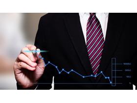 黑色商务人物绘制折线图PPT背景图片