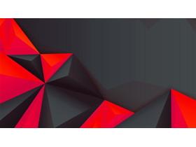 黑色�t色搭配的多�形PPT背景�D片