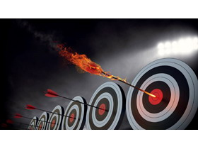 火箭命中靶心PPT背景图片