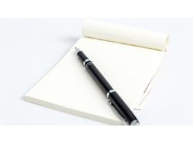 简洁钢笔记事本PPT背景图片