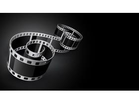 黑色精致电影胶片PPT背景图片