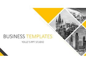 黄灰图片排版设计的欧美风格PPT模板