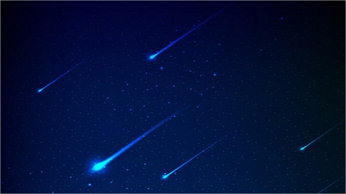 蓝色星空流星PPT背景图片