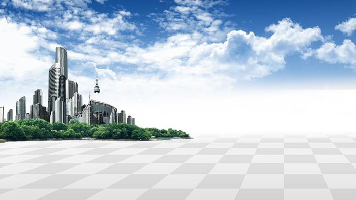 蓝天白云城市app自助领取彩金38PPT背景图片