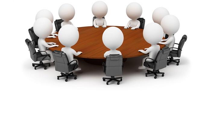 坐在会议桌边的白色小人PPT背景图片