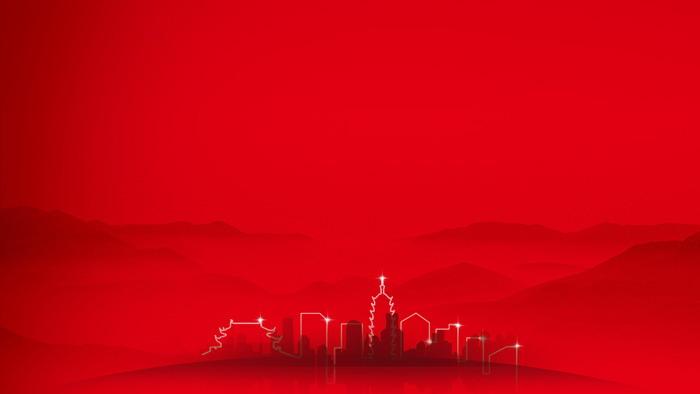 两张红色简洁建筑剪影PPT背景图片