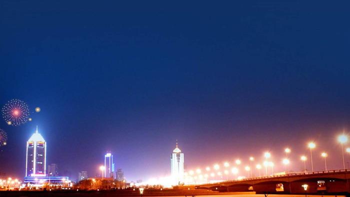 繁华城市夜景PPT背景图片