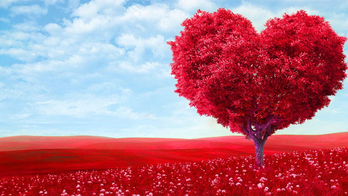 红色唯美爱心树PPT背景图片