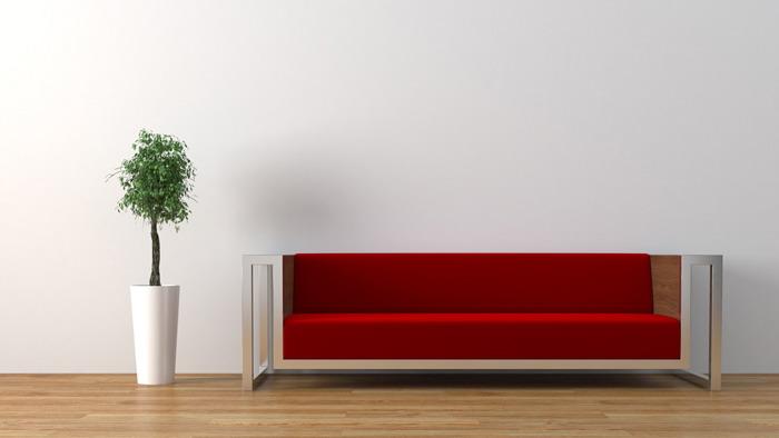 简洁沙发盆景PPT背景图片