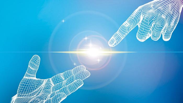 两张白色虚拟手势PPT背景图片