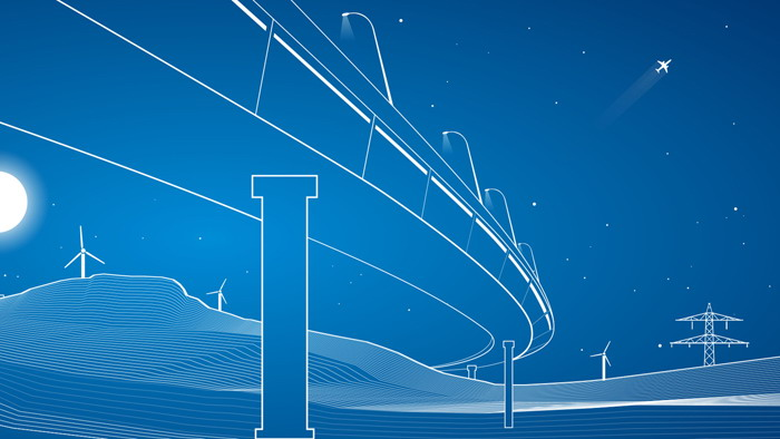 白色细线绘制的夜景PPT背景图片