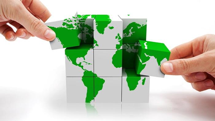 绿色世界地图积木PPT背景图片