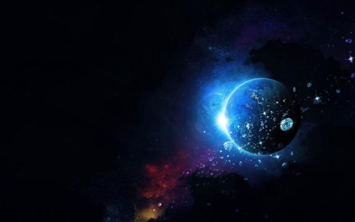 蓝色唯美星球宇宙PPT背景图片