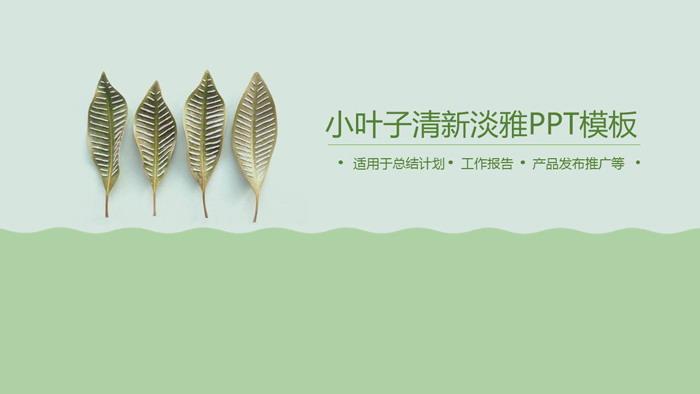 绿色淡雅植物叶子PPT模板