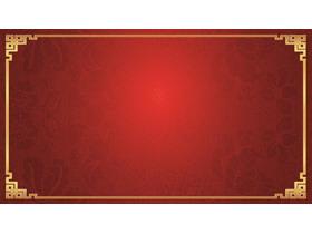 三张红色古典花纹PPT背景图片