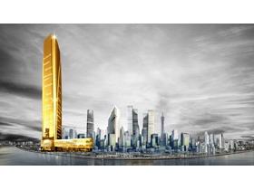 两张大气城市金色app自助领取彩金38PPT背景图片