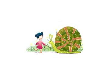可爱卡通女孩与蜗牛PPT背景图片