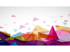 彩色三角形多�形PowerPoint背景�D片