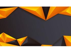 橙色立�w多�形PPT背景�D片
