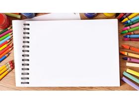 彩色铅笔画笔颜料绘图本PowerPoint背景图片