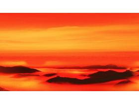 红色群山云海PPT背景图片