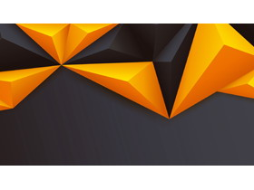 橙黑立�w多�形PPT背景�D片