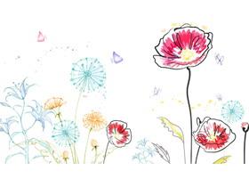 创意手绘花儿PPT背景图片