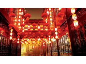 喜庆古典街道PPT背景图片