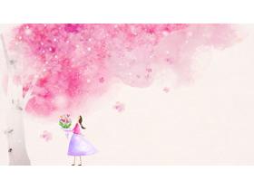 唯美樱花树下的女孩PPT背景图片