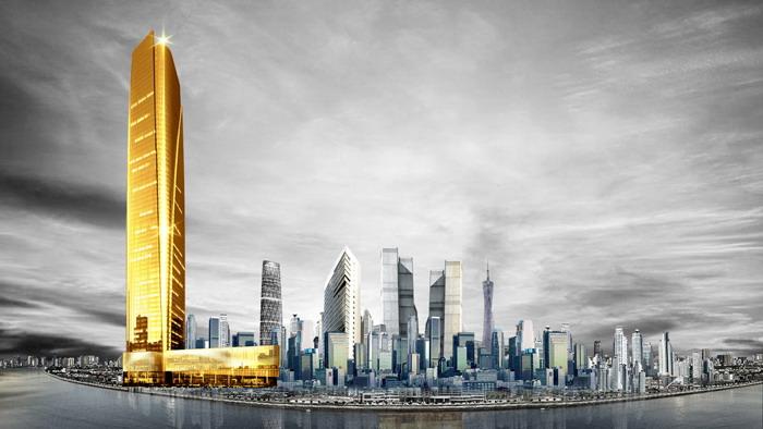 两张大气城市金色建筑PPT背景图片
