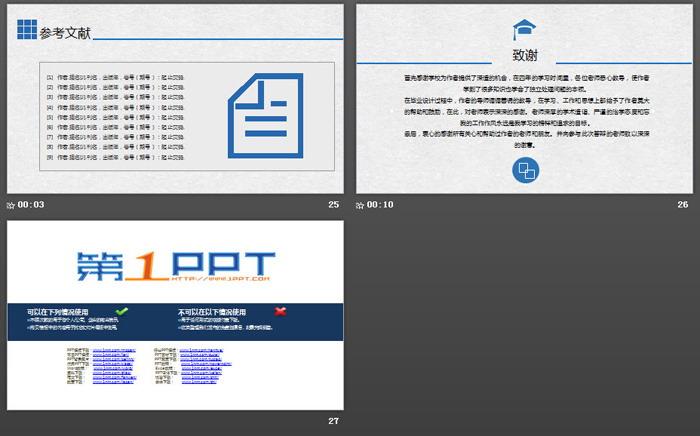 蓝色实用毕业论文答辩PPT模板