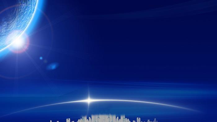 蓝色星空金色城市PPT背景图片