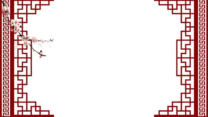 节日背景图片 七张红色喜庆春节ppt背景图片  关键词:古典木质边框