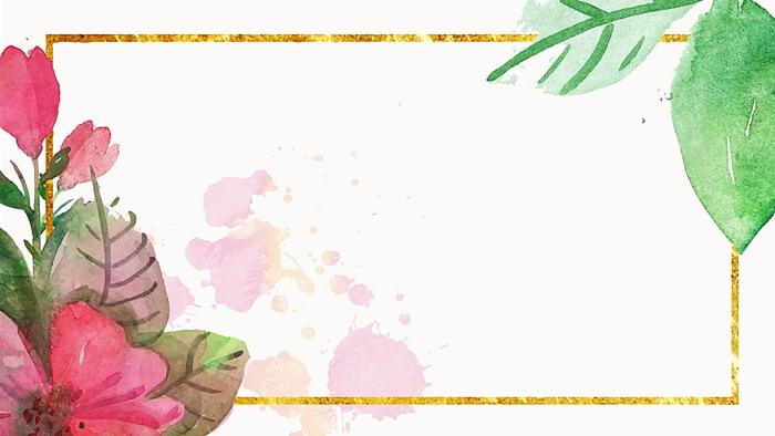 两张彩色水彩花卉幻灯片背景图片