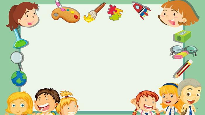 可爱小朋友装饰的卡通ppt边框背景图片