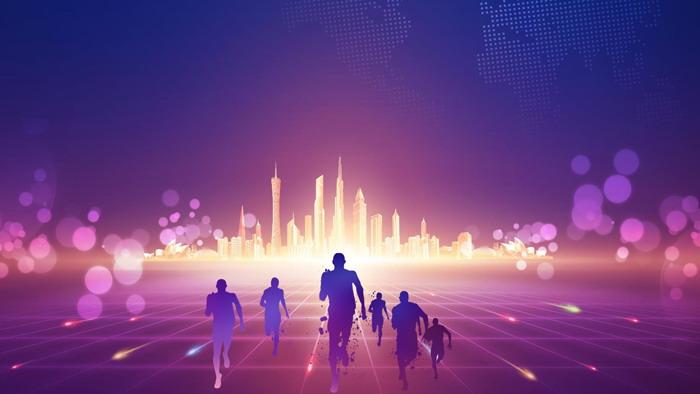 紫色抽象城市奔跑ppt背景图片