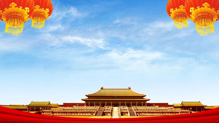 两张蓝天白云古建筑PPT背景图片