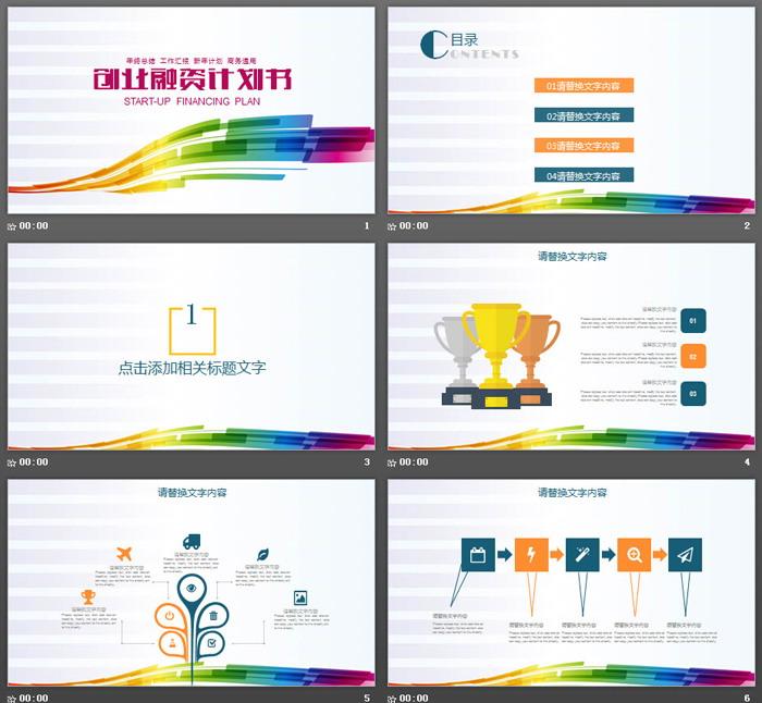 七彩曲线背景的商业融资计划书PPT模板