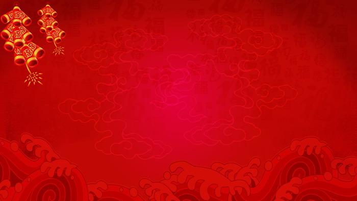 四张红色灯笼鞭炮PPT背景图片