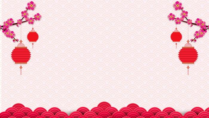 五张桃花灯笼节日PPT背景图片