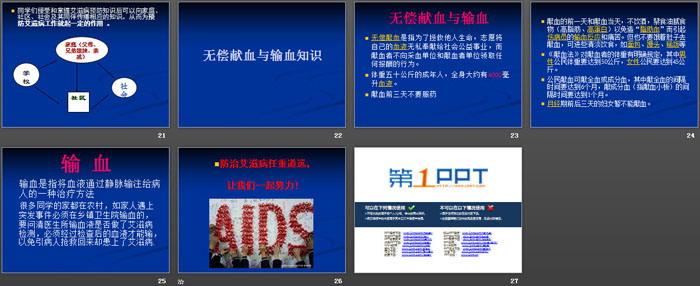 《防艾滋病主题班会》PPT