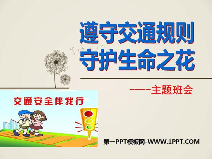 《遵守交通规则 守护生命之花》PPT