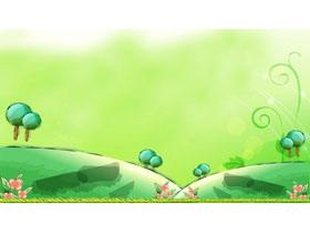 三张绿色卡通PPT背景图片