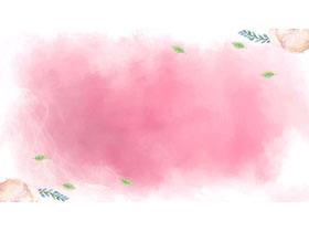 三��粉色唯美模糊水彩PPT背景�D片