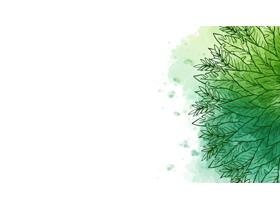 三张绿色手绘叶子线条PPT背景图片