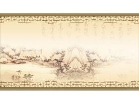 三张古典水墨PPT背景图片