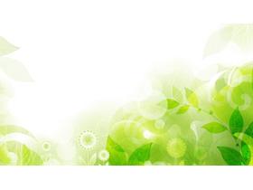 绿色清新手绘植物叶子PPT背景图片